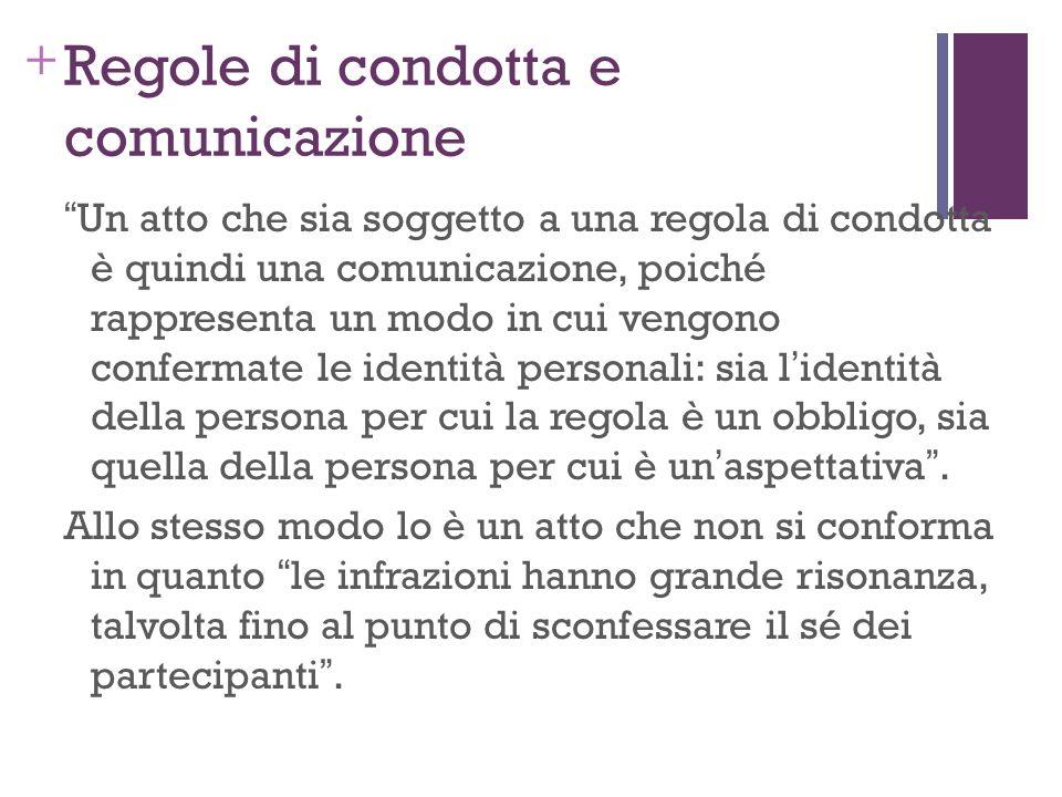 + Regole di condotta e comunicazione Un atto che sia soggetto a una regola di condotta è quindi una comunicazione, poiché rappresenta un modo in cui v