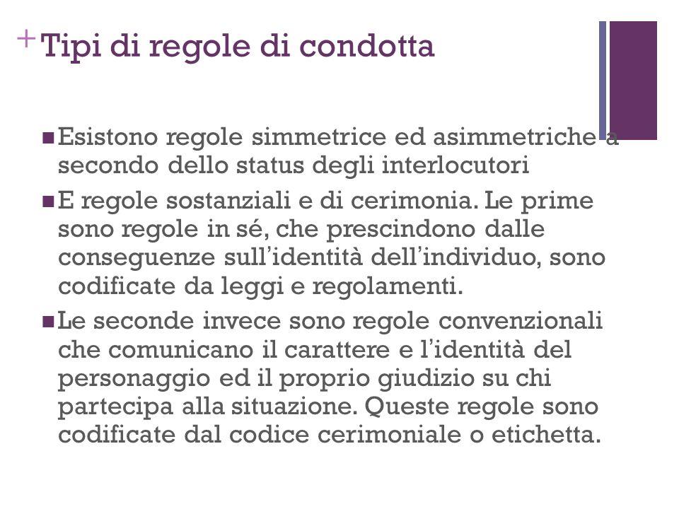 + Tipi di regole di condotta Esistono regole simmetrice ed asimmetriche a secondo dello status degli interlocutori E regole sostanziali e di cerimonia