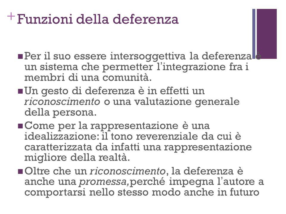 + Funzioni della deferenza Per il suo essere intersoggettiva la deferenza è un sistema che permetter lintegrazione fra i membri di una comunità. Un ge