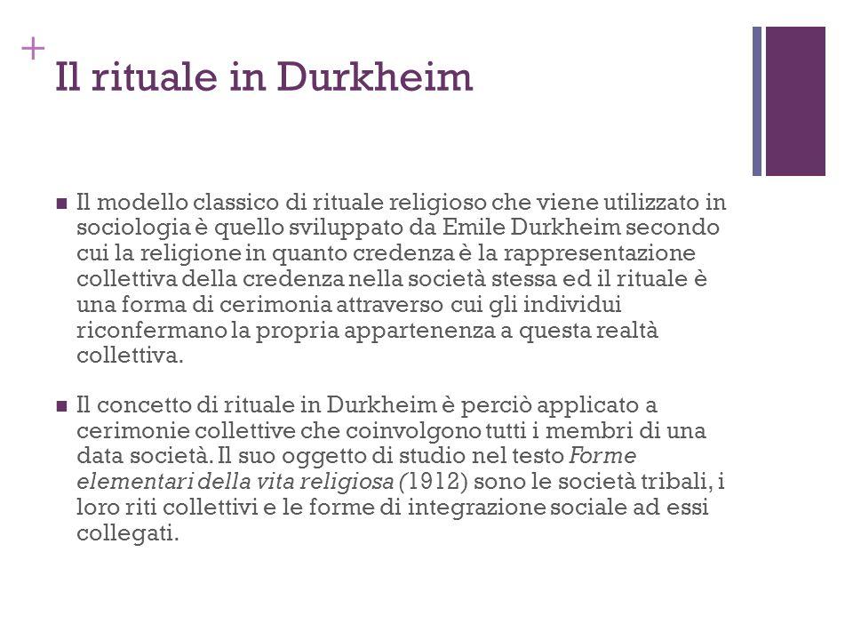 + Il rituale in Durkheim Il modello classico di rituale religioso che viene utilizzato in sociologia è quello sviluppato da Emile Durkheim secondo cui