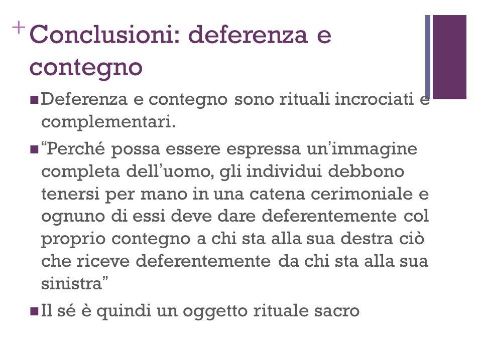 + Conclusioni: deferenza e contegno Deferenza e contegno sono rituali incrociati e complementari. Perché possa essere espressa unimmagine completa del