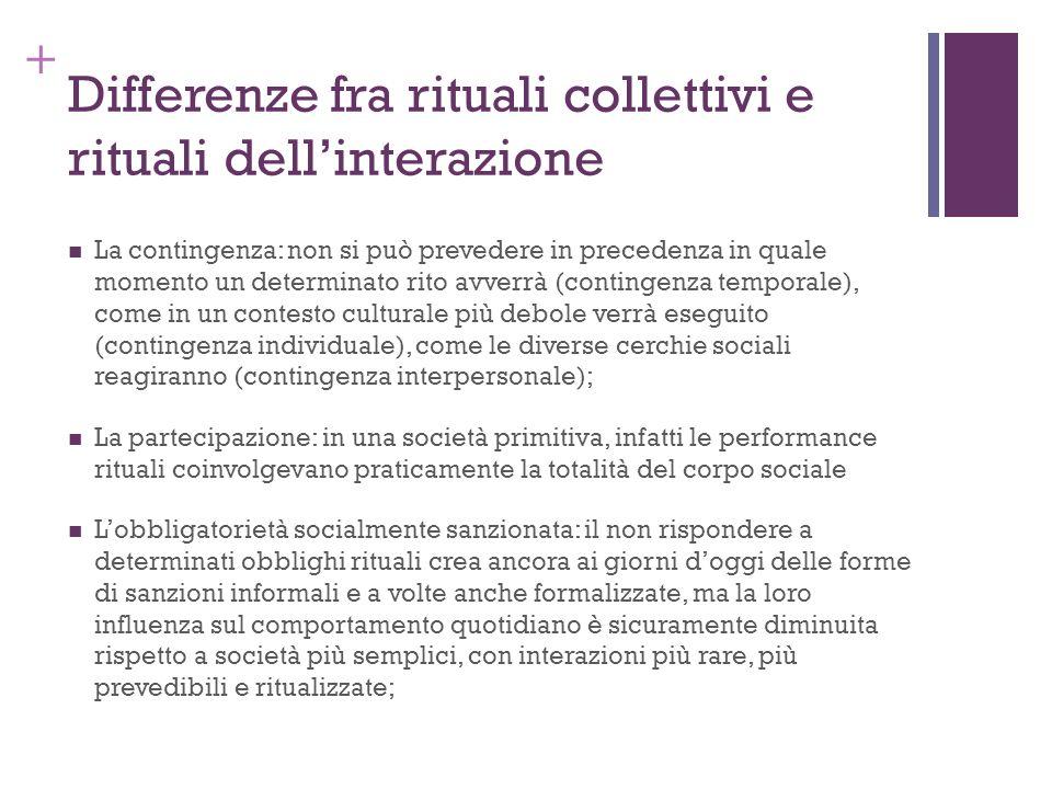 + Differenze fra rituali collettivi e rituali dellinterazione La contingenza: non si può prevedere in precedenza in quale momento un determinato rito