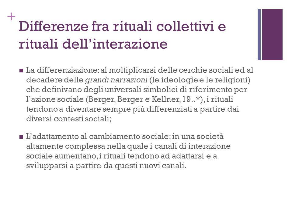 + Differenze fra rituali collettivi e rituali dellinterazione La differenziazione: al moltiplicarsi delle cerchie sociali ed al decadere delle grandi