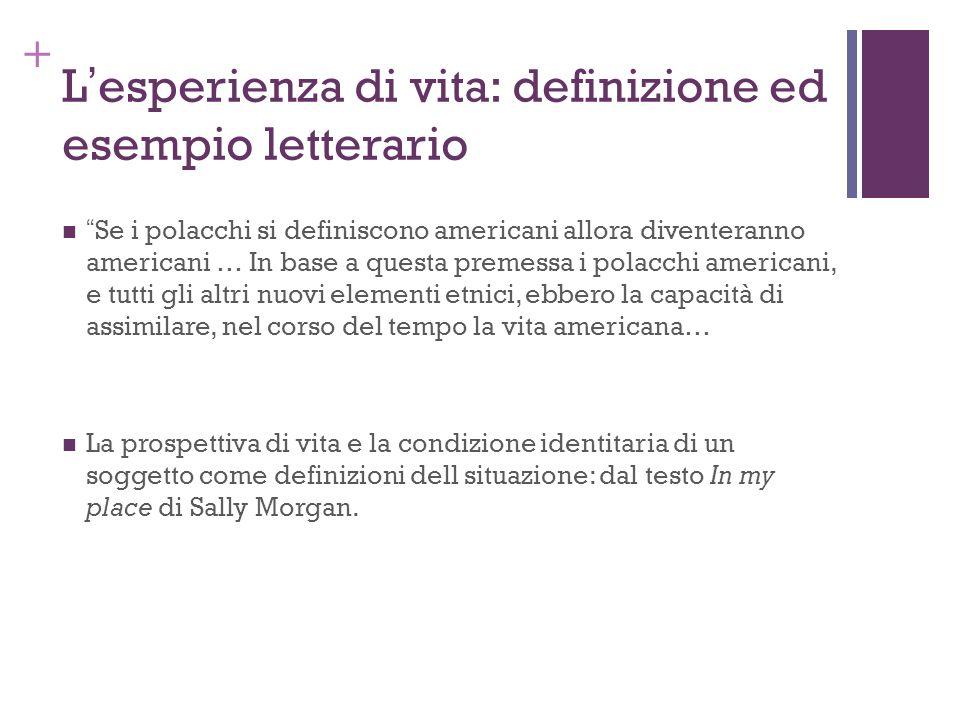 + Lesperienza di vita: definizione ed esempio letterario Se i polacchi si definiscono americani allora diventeranno americani … In base a questa preme