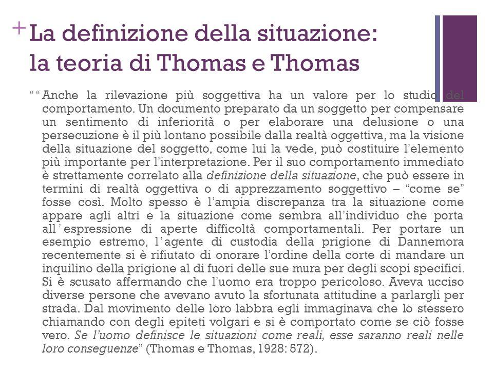 + La definizione della situazione: la teoria di Thomas e Thomas Anche la rilevazione più soggettiva ha un valore per lo studio del comportamento. Un d