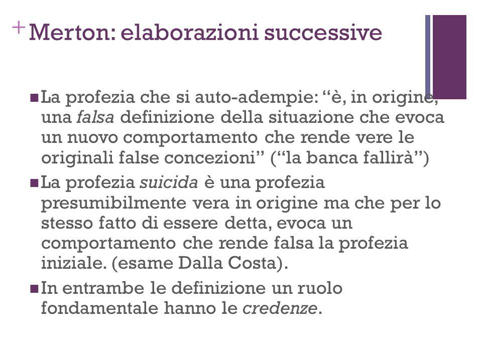 + Merton: elaborazioni successive La profezia che si auto-adempie: è, in origine, una falsa definizione della situazione che evoca un nuovo comportame