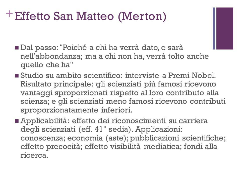 + Effetto San Matteo (Merton) Dal passo: Poiché a chi ha verrà dato, e sarà nellabbondanza; ma a chi non ha, verrà tolto anche quello che ha