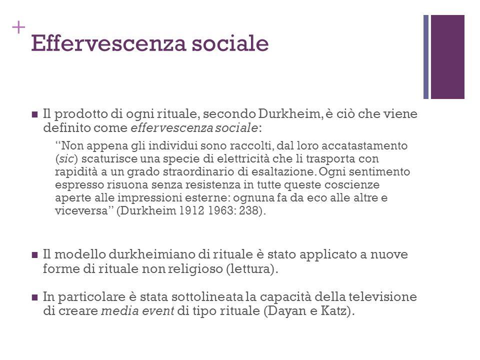 + Effervescenza sociale Il prodotto di ogni rituale, secondo Durkheim, è ciò che viene definito come effervescenza sociale: Non appena gli individui s