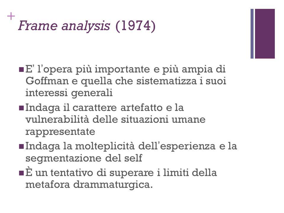 + Frame analysis (1974) E lopera più importante e più ampia di Goffman e quella che sistematizza i suoi interessi generali Indaga il carattere artefat