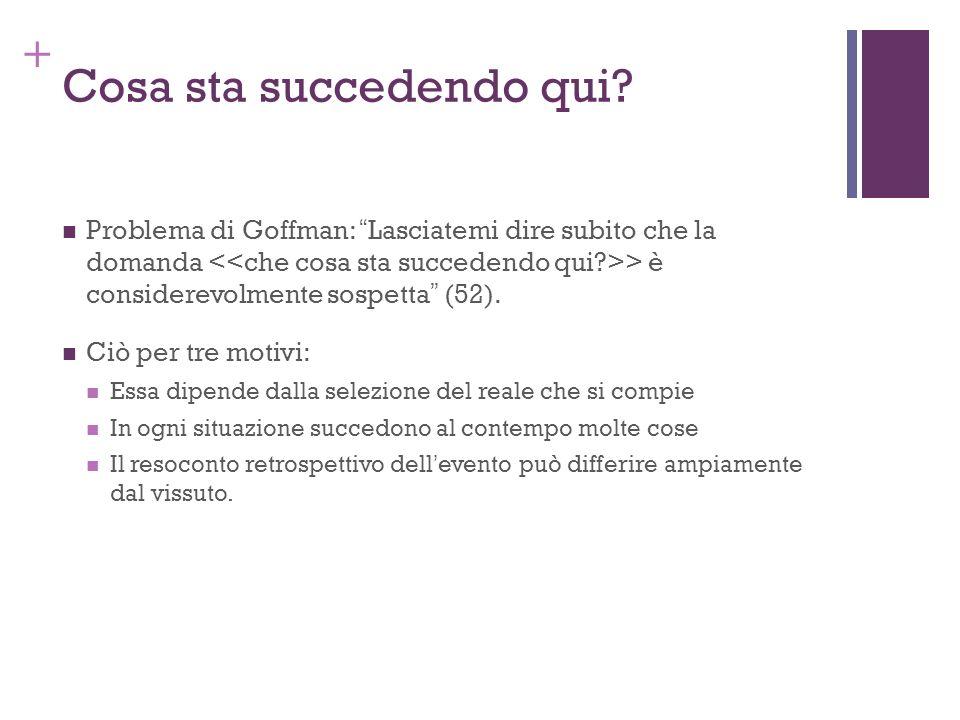 + Cosa sta succedendo qui? Problema di Goffman: Lasciatemi dire subito che la domanda > è considerevolmente sospetta (52). Ciò per tre motivi: Essa di