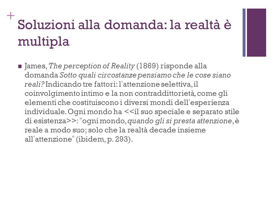 + Soluzioni alla domanda: la realtà è multipla James, The perception of Reality (1869) risponde alla domanda Sotto quali circostanze pensiamo che le c