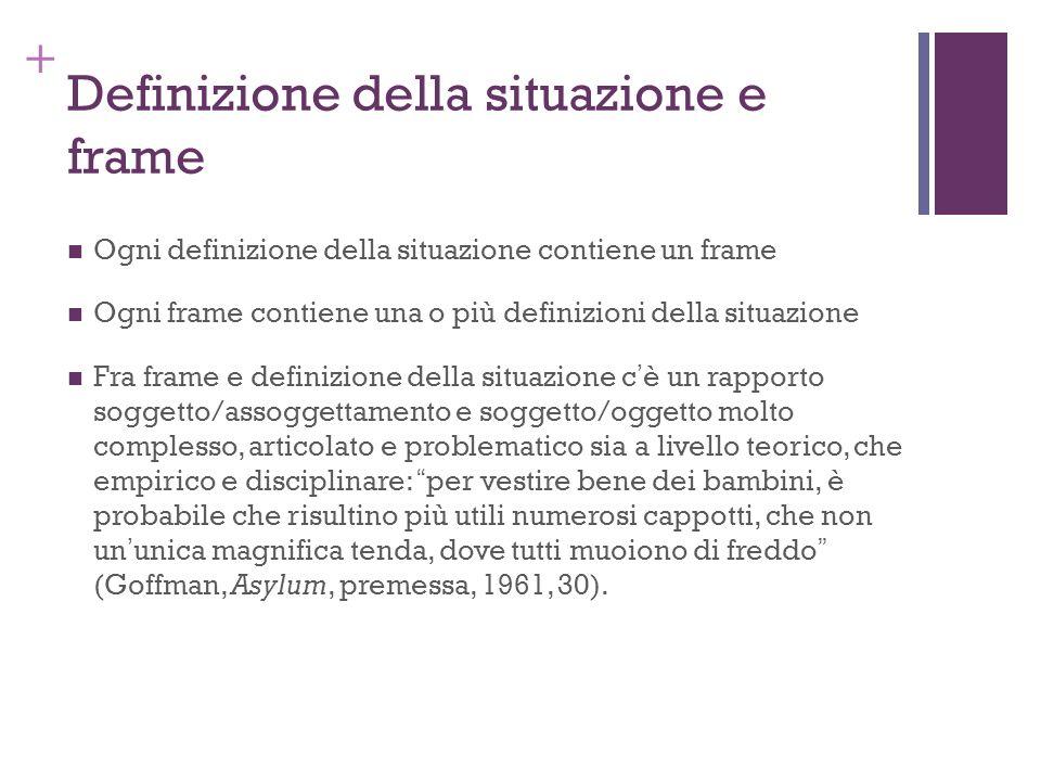 + Definizione della situazione e frame Ogni definizione della situazione contiene un frame Ogni frame contiene una o più definizioni della situazione