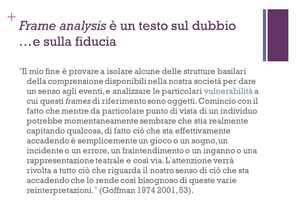 + Frame analysis è un testo sul dubbio …e sulla fiducia Il mio fine è provare a isolare alcune delle strutture basilari della comprensione disponibili