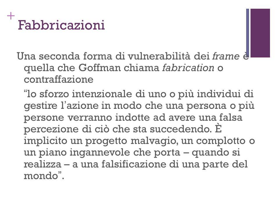 + Fabbricazioni Una seconda forma di vulnerabilità dei frame è quella che Goffman chiama fabrication o contraffazione lo sforzo intenzionale di uno o