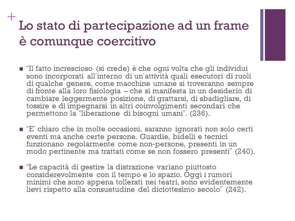 + Lo stato di partecipazione ad un frame è comunque coercitivo Il fatto increscioso (si crede) è che ogni volta che gli individui sono incorporati all