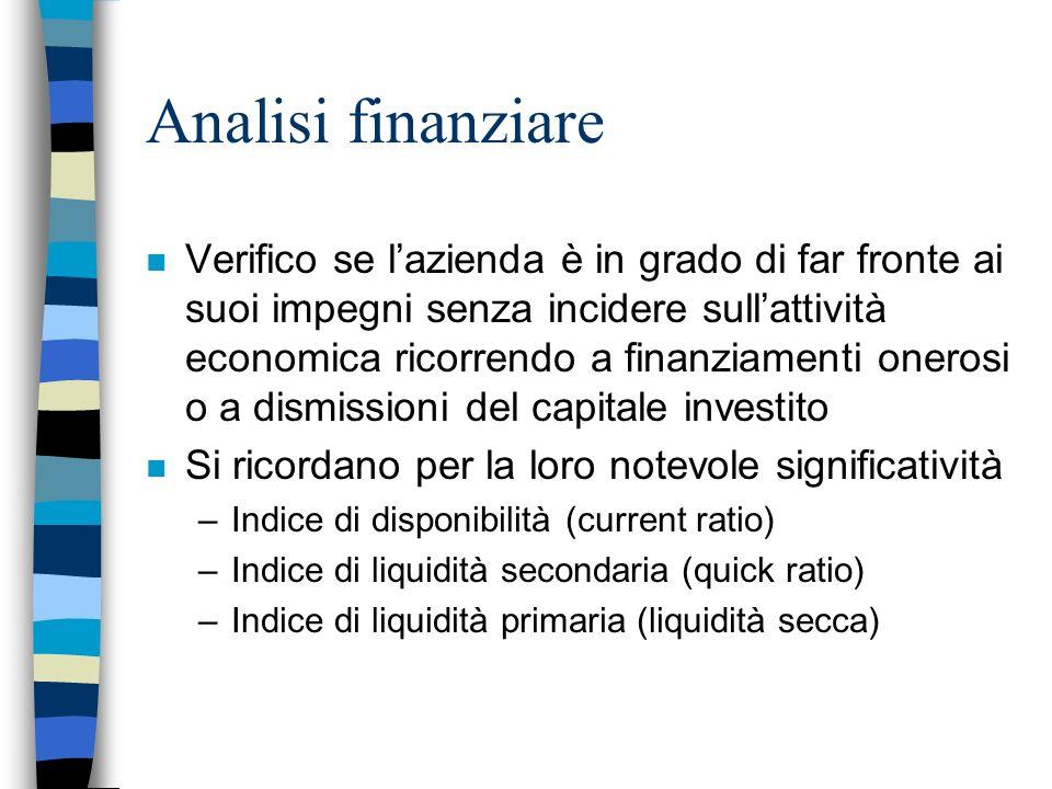 Analisi finanziare n Verifico se lazienda è in grado di far fronte ai suoi impegni senza incidere sullattività economica ricorrendo a finanziamenti on