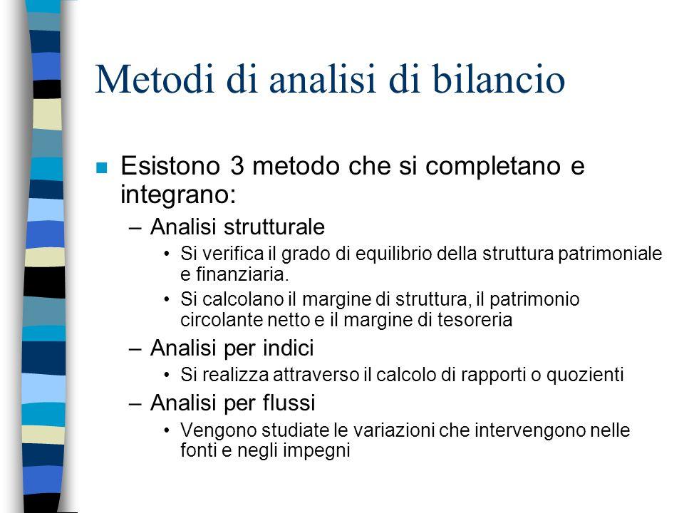 Metodi di analisi di bilancio n Esistono 3 metodo che si completano e integrano: –Analisi strutturale Si verifica il grado di equilibrio della struttu