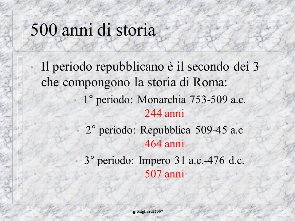 @ Migliardi 2007 500 anni di storia Il periodo repubblicano è il secondo dei 3 che compongono la storia di Roma: 1° periodo: Monarchia 753-509 a.c. 24