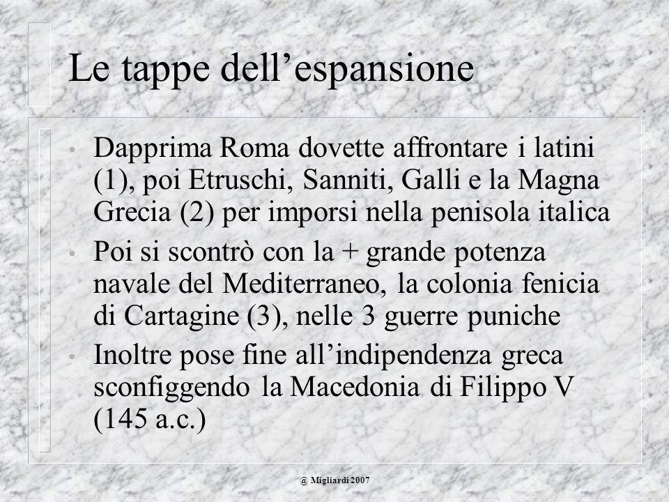 @ Migliardi 2007 Le tappe dellespansione Dapprima Roma dovette affrontare i latini (1), poi Etruschi, Sanniti, Galli e la Magna Grecia (2) per imporsi