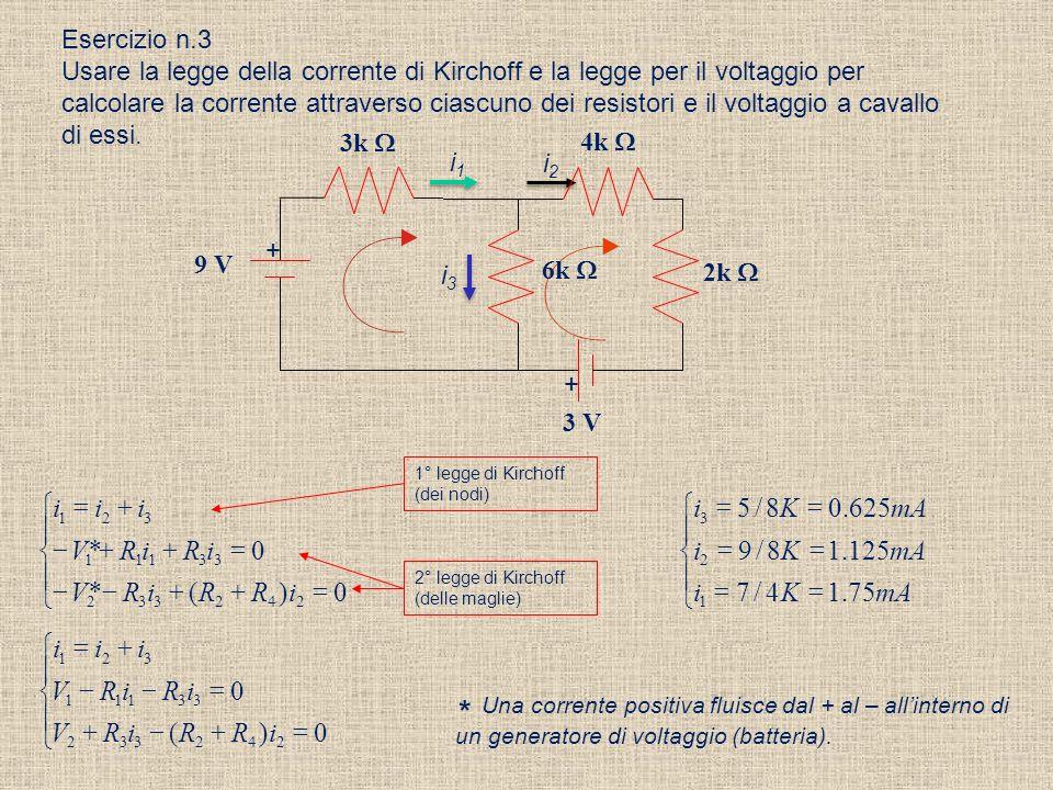 Esercizio n.2 Calcolare la corrente nel seguente circuito. Qualè la resistenza equivalente dei due resistori in parallelo? Calcolare il voltaggio a ca