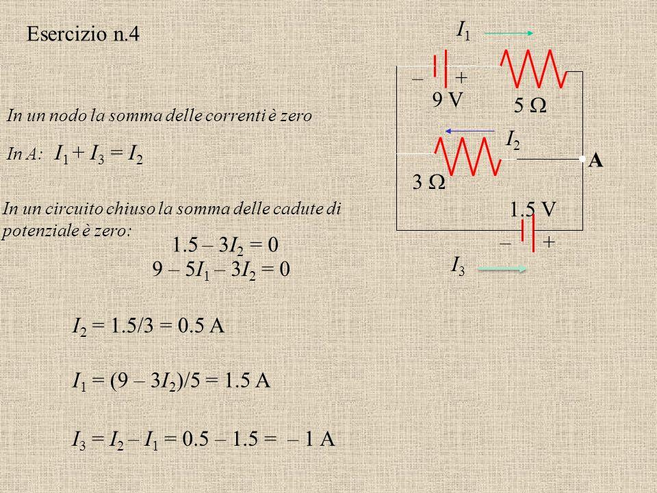Esercizio n.3 Usare la legge della corrente di Kirchoff e la legge per il voltaggio per calcolare la corrente attraverso ciascuno dei resistori e il v