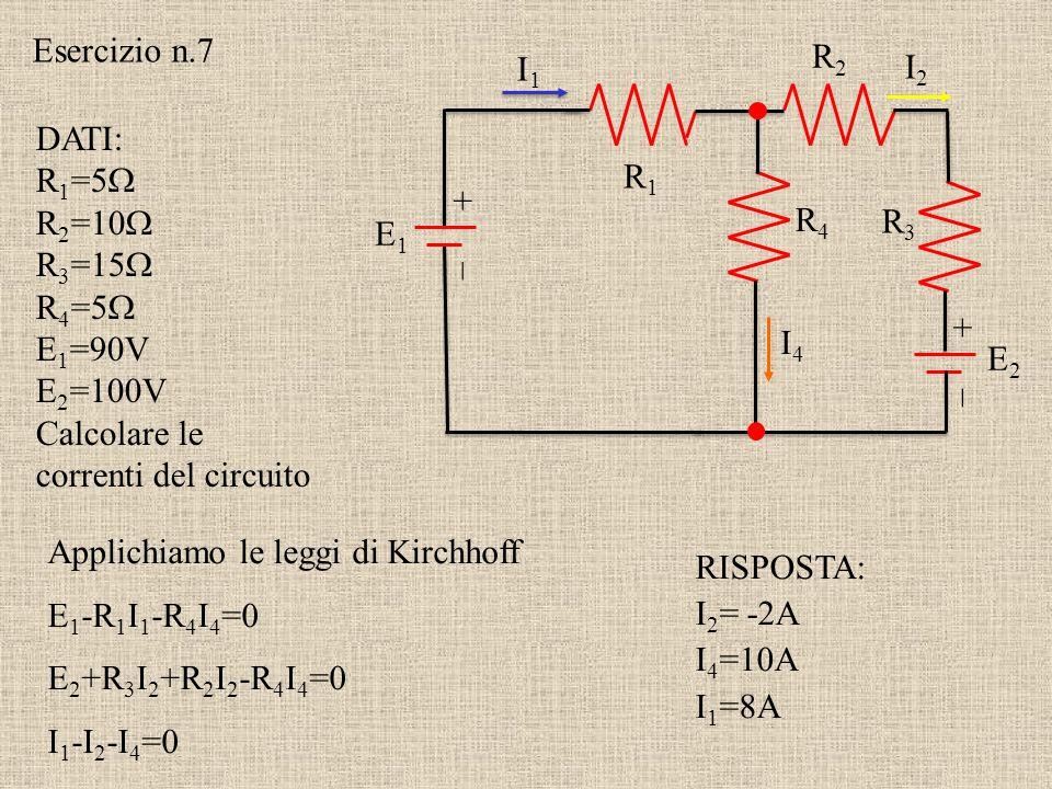 + – R1R1 R2R2 R3R3 R4R4 I1I1 I2I2 I3I3 I4I4 E1E1 In un nodo la somma di tutte le correnti che entrano ed escono da un nodo è zero: I 1 -I 3 -I 4 =0 I