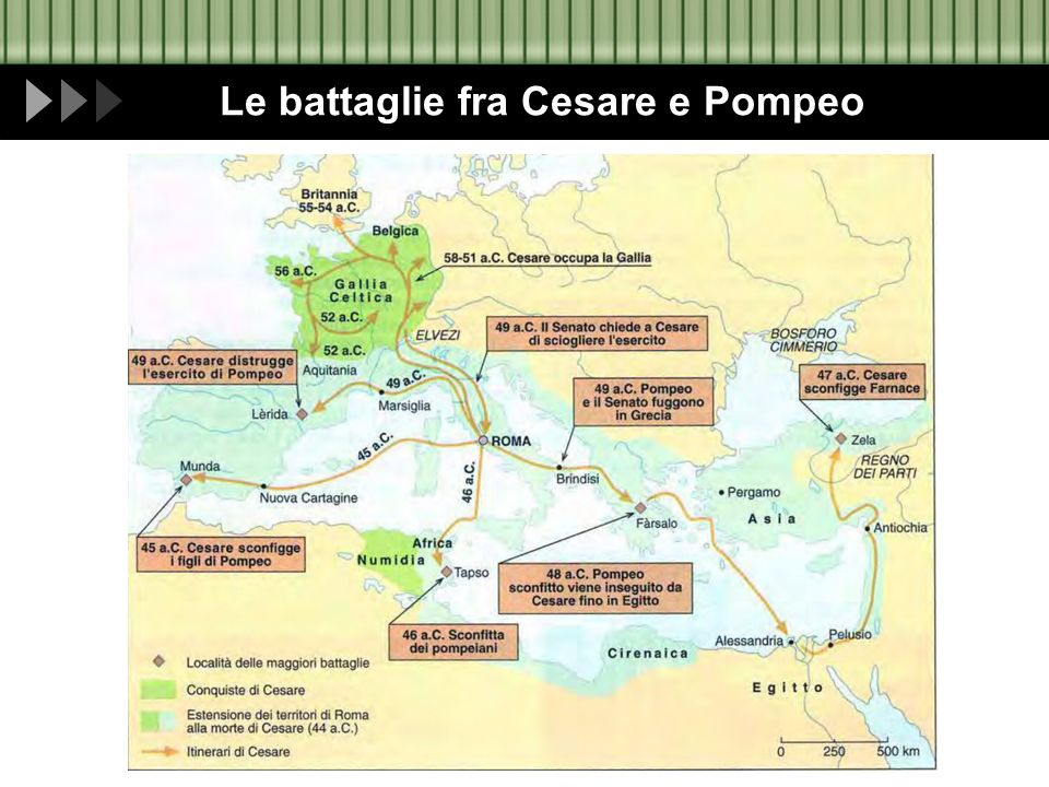 Le battaglie fra Cesare e Pompeo