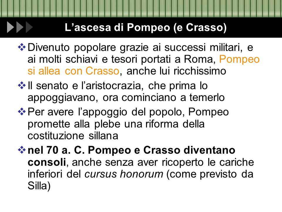 Lascesa di Pompeo (e Crasso) Divenuto popolare grazie ai successi militari, e ai molti schiavi e tesori portati a Roma, Pompeo si allea con Crasso, an