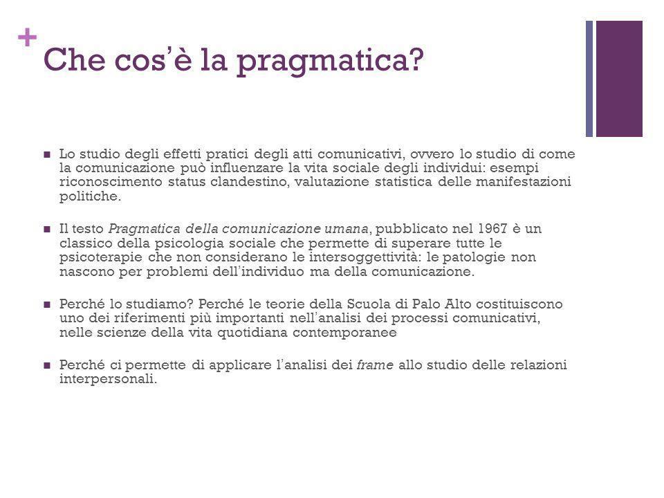 + Che cosè la pragmatica? Lo studio degli effetti pratici degli atti comunicativi, ovvero lo studio di come la comunicazione può influenzare la vita s