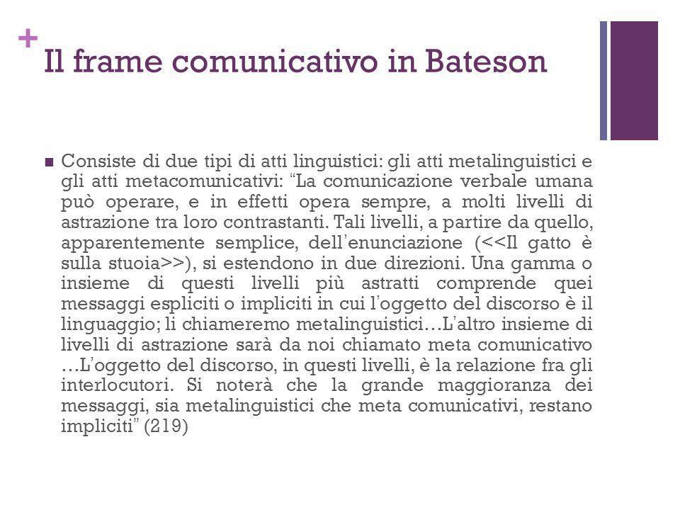 + Il frame comunicativo in Bateson Consiste di due tipi di atti linguistici: gli atti metalinguistici e gli atti metacomunicativi: La comunicazione ve