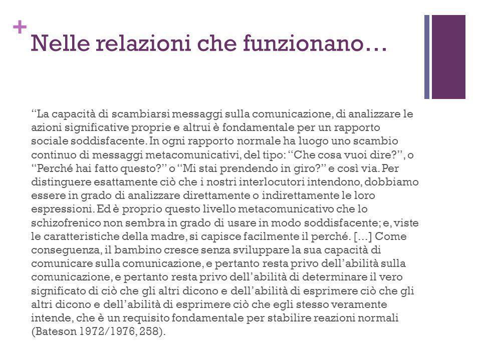 + Nelle relazioni che funzionano… La capacità di scambiarsi messaggi sulla comunicazione, di analizzare le azioni significative proprie e altrui è fon