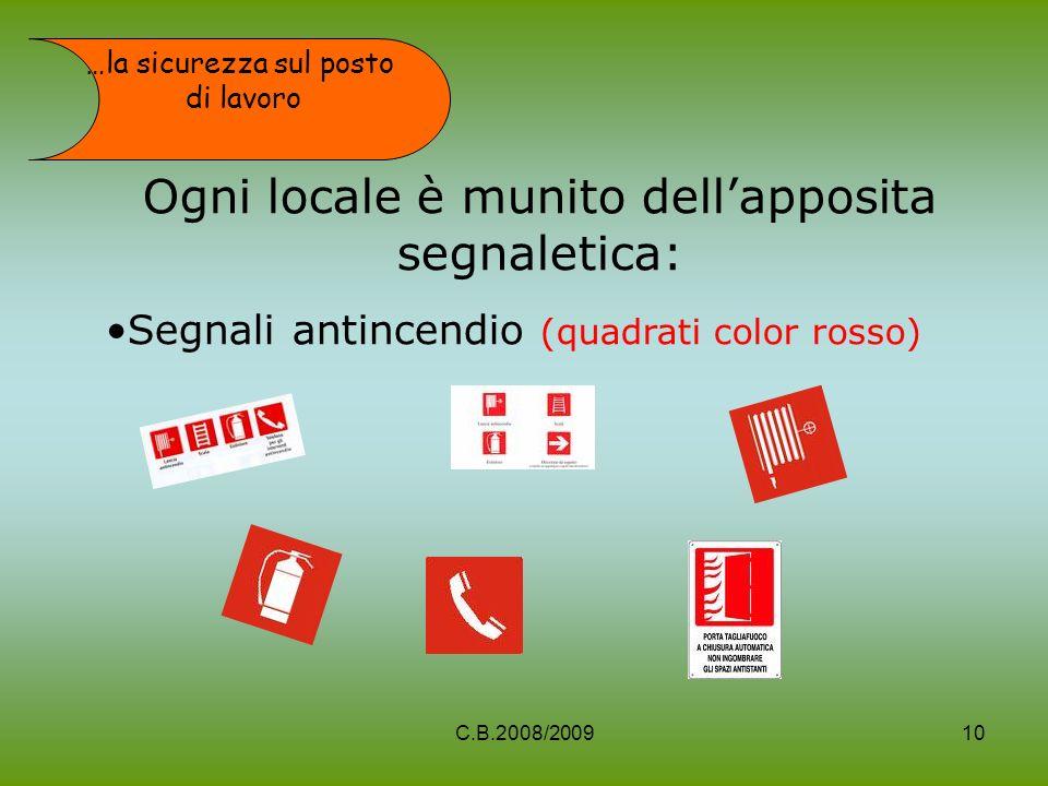 Ogni locale è munito dellapposita segnaletica: Segnali antincendio (quadrati color rosso) …la sicurezza sul posto di lavoro 10C.B.2008/2009