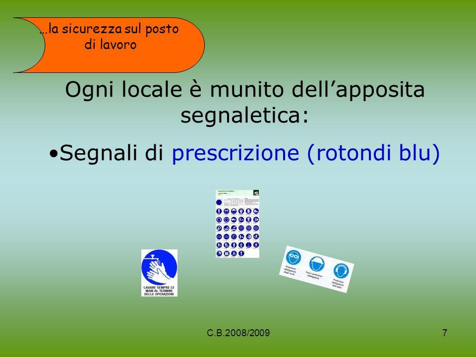 Ogni locale è munito dellapposita segnaletica: Segnali di prescrizione (rotondi blu) …la sicurezza sul posto di lavoro 7C.B.2008/2009