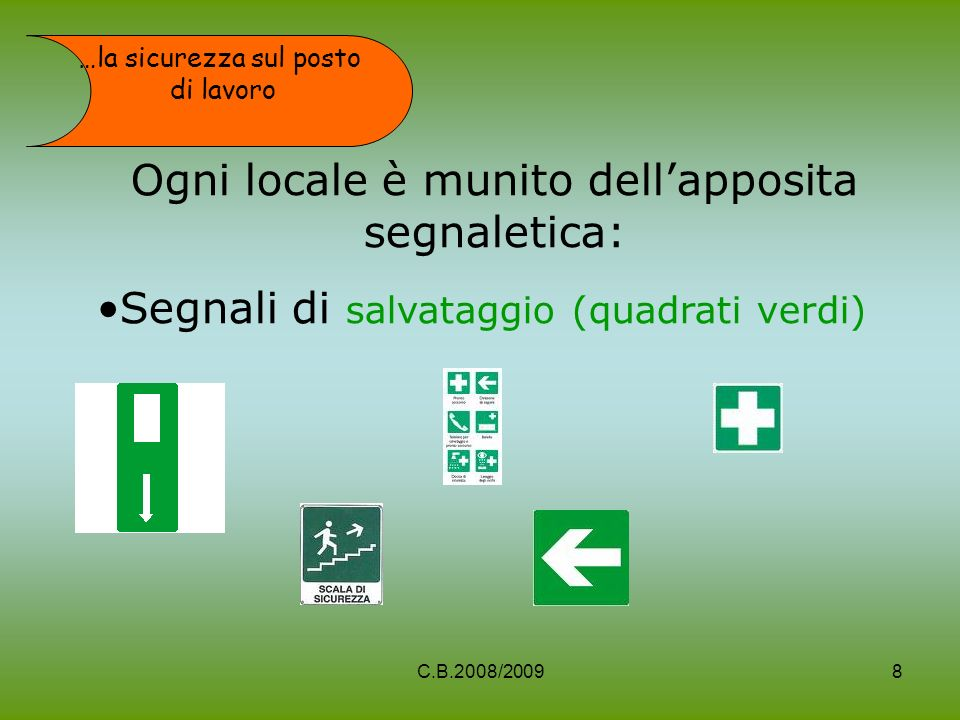 Ogni locale è munito dellapposita segnaletica: Segnali di salvataggio (quadrati verdi) …la sicurezza sul posto di lavoro 8C.B.2008/2009
