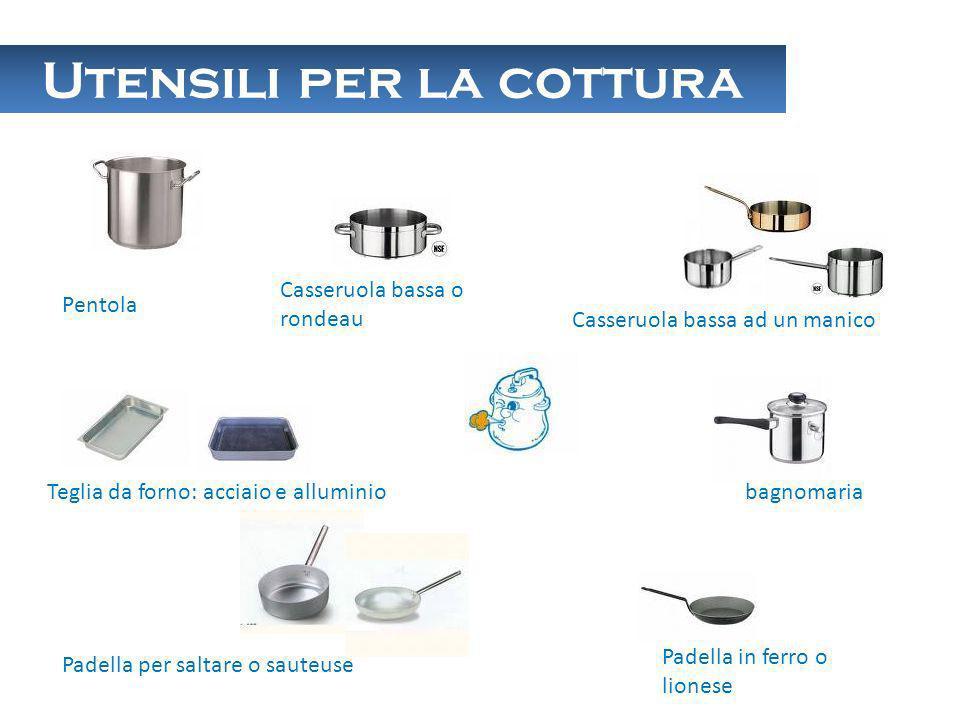 Utensili per la cottura Pentola Casseruola bassa o rondeau Casseruola bassa ad un manico bagnomaria Padella in ferro o lionese Padella per saltare o s