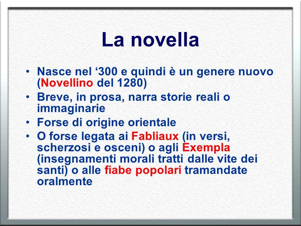 La novella Nasce nel 300 e quindi è un genere nuovo (Novellino del 1280) Breve, in prosa, narra storie reali o immaginarie Forse di origine orientale