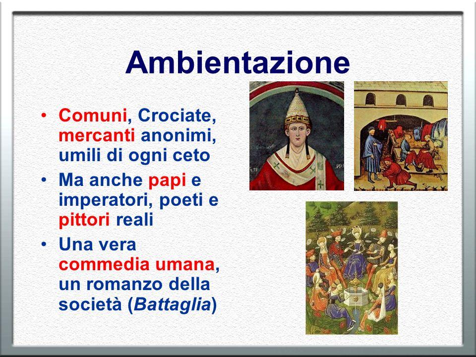 Ambientazione Comuni, Crociate, mercanti anonimi, umili di ogni ceto Ma anche papi e imperatori, poeti e pittori reali Una vera commedia umana, un rom