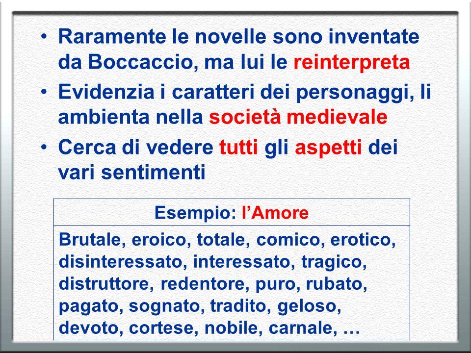 Raramente le novelle sono inventate da Boccaccio, ma lui le reinterpreta Evidenzia i caratteri dei personaggi, li ambienta nella società medievale Cer