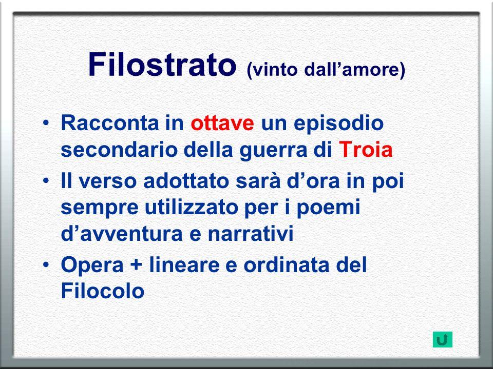 Filostrato (vinto dallamore) Racconta in ottave un episodio secondario della guerra di Troia Il verso adottato sarà dora in poi sempre utilizzato per