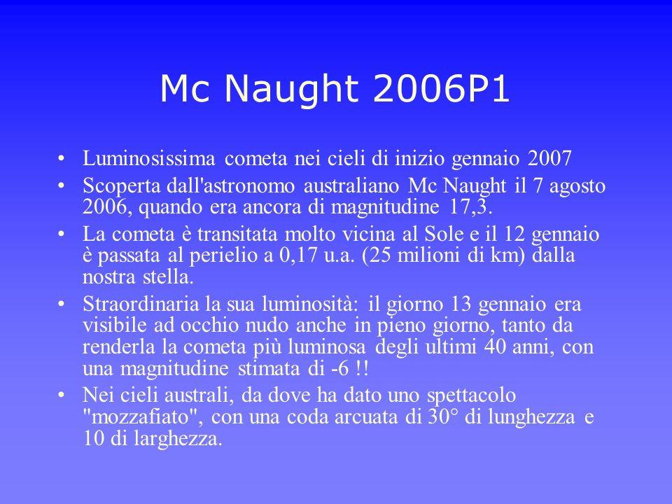 Mc Naught 2006P1 Luminosissima cometa nei cieli di inizio gennaio 2007 Scoperta dall'astronomo australiano Mc Naught il 7 agosto 2006, quando era anco