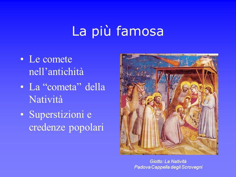 La più famosa Le comete nellantichità La cometa della Natività Superstizioni e credenze popolari Giotto: La Natività Padova Cappella degli Scrovegni