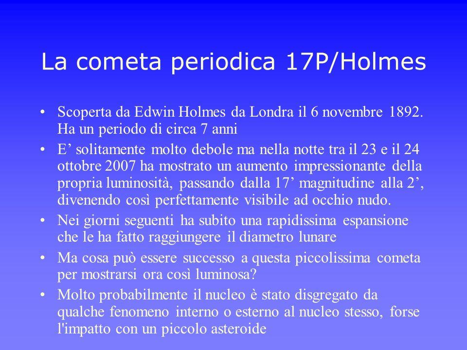 La cometa periodica 17P/Holmes Scoperta da Edwin Holmes da Londra il 6 novembre 1892. Ha un periodo di circa 7 anni E solitamente molto debole ma nell