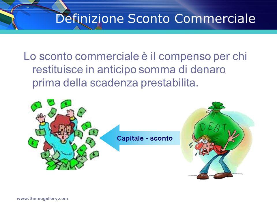 www.themegallery.com Definizione Sconto Commerciale Lo sconto commerciale è il compenso per chi restituisce in anticipo somma di denaro prima della sc