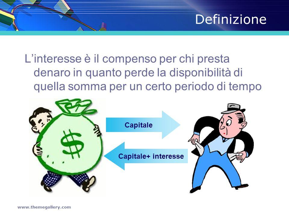 www.themegallery.com Il calcolo dellinteresse C = Capitale = Somma prestata R = tasso = ragione percentuale t = tempo = il tempo che trascorre dal momento del prestito alla sua restituzione I = Interesse = = C x r x t 100 100