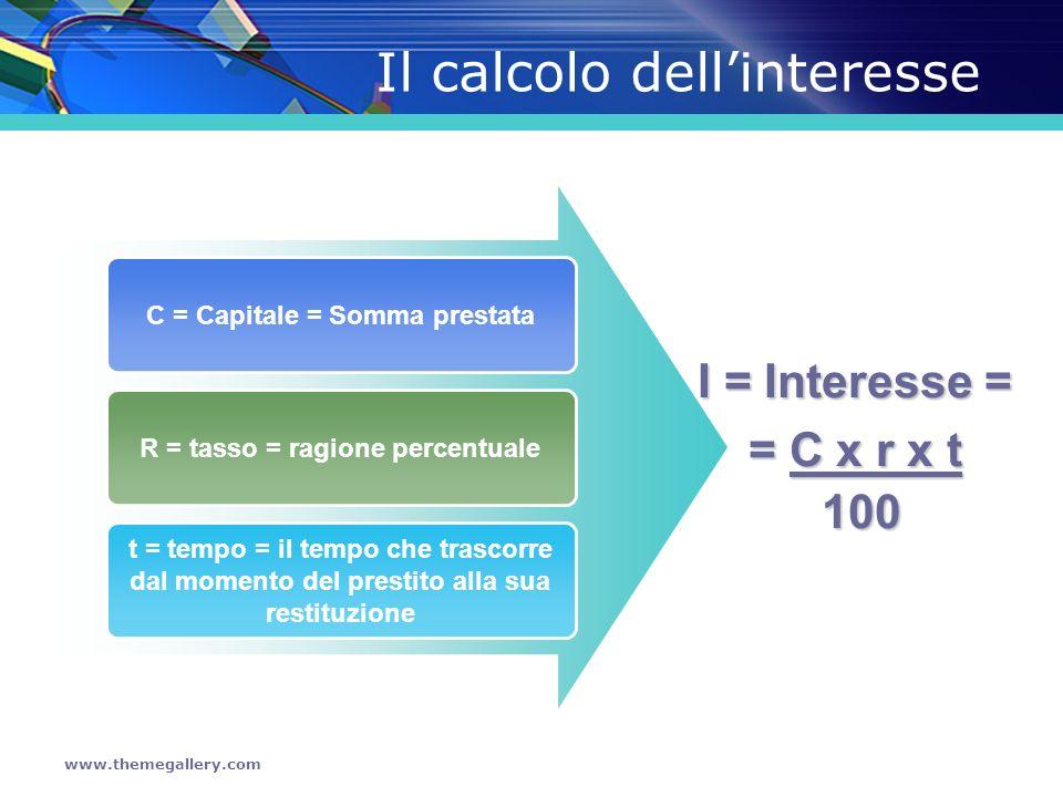 www.themegallery.com Il calcolo dellinteresse C = Capitale = Somma prestata R = tasso = ragione percentuale t = tempo = il tempo che trascorre dal mom