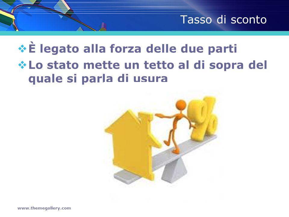 www.themegallery.com Tasso di sconto È legato alla forza delle due parti Lo stato mette un tetto al di sopra del quale si parla di usura