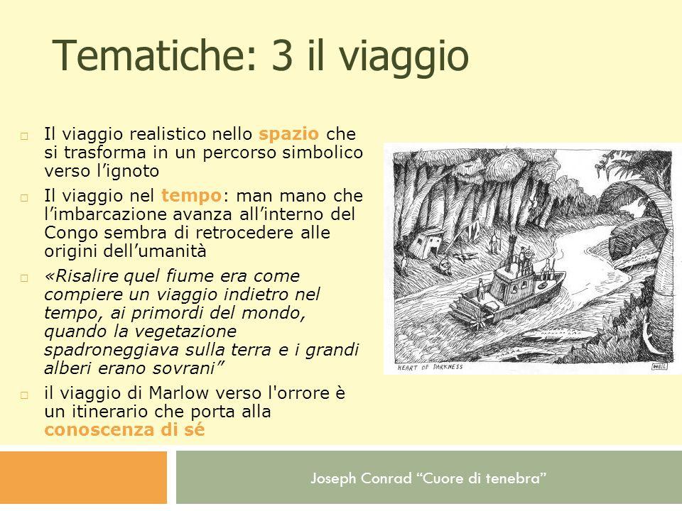 Joseph Conrad Cuore di tenebra Tematiche: 3 il viaggio Il viaggio realistico nello spazio che si trasforma in un percorso simbolico verso lignoto Il v