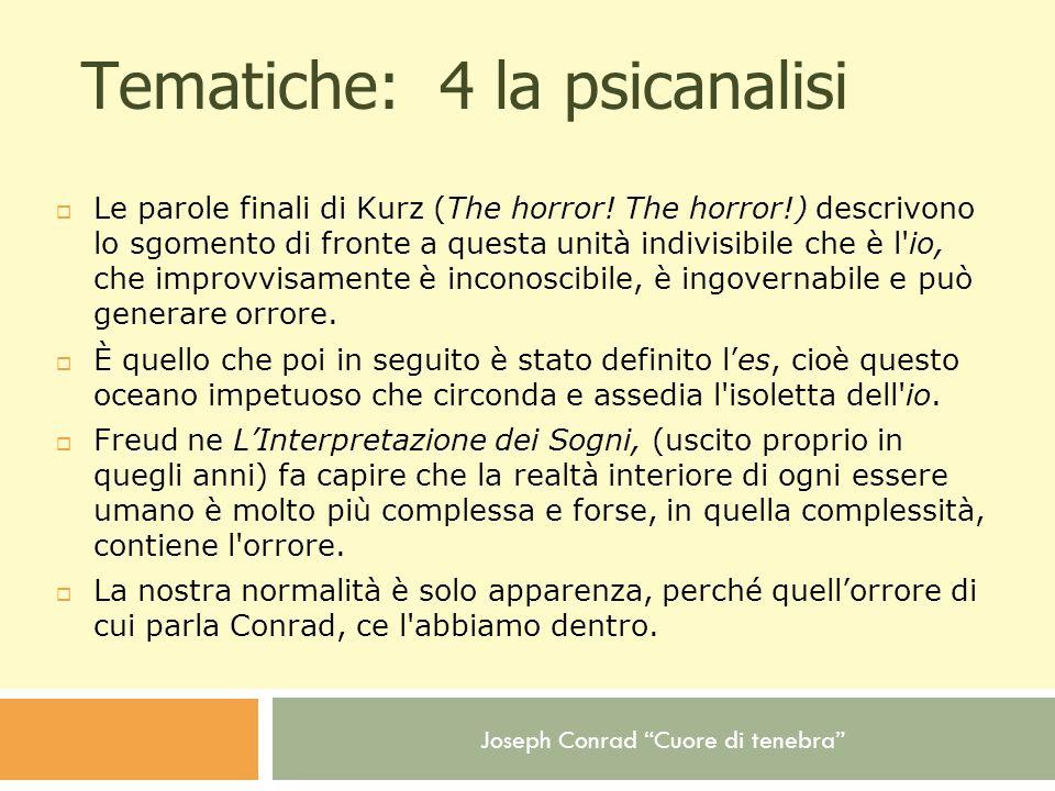 Joseph Conrad Cuore di tenebra Tematiche: 4 la psicanalisi Le parole finali di Kurz (The horror! The horror!) descrivono lo sgomento di fronte a quest