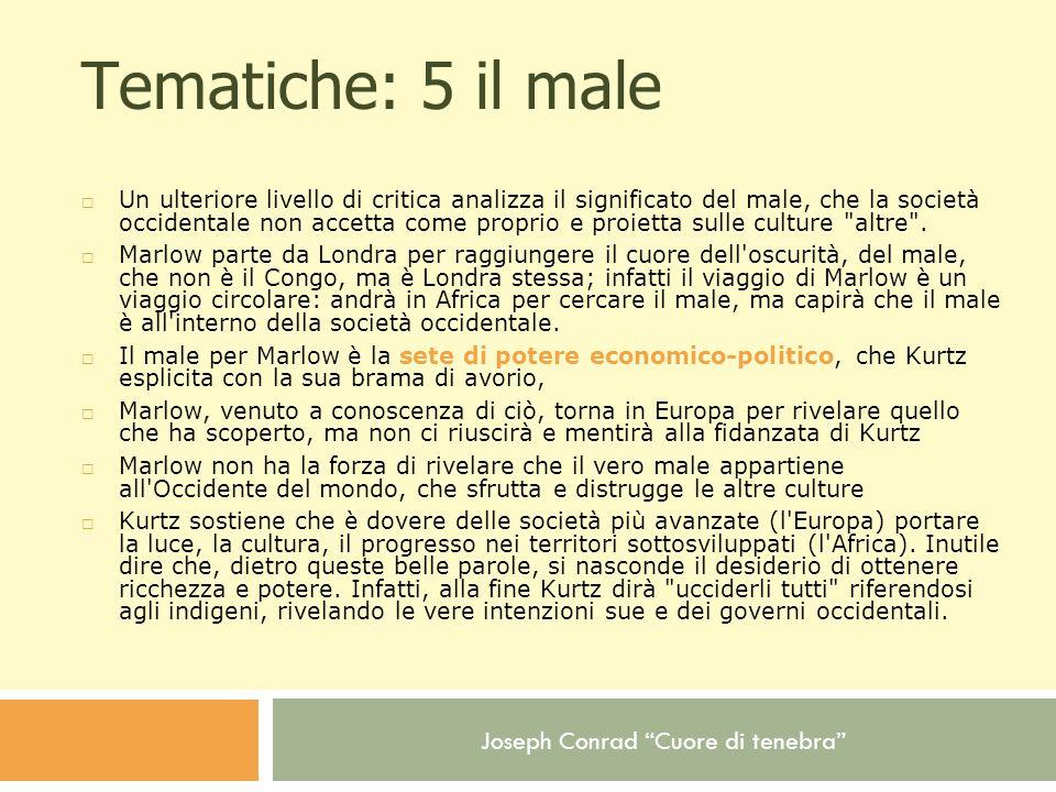 Joseph Conrad Cuore di tenebra Tematiche: 5 il male Un ulteriore livello di critica analizza il significato del male, che la società occidentale non a