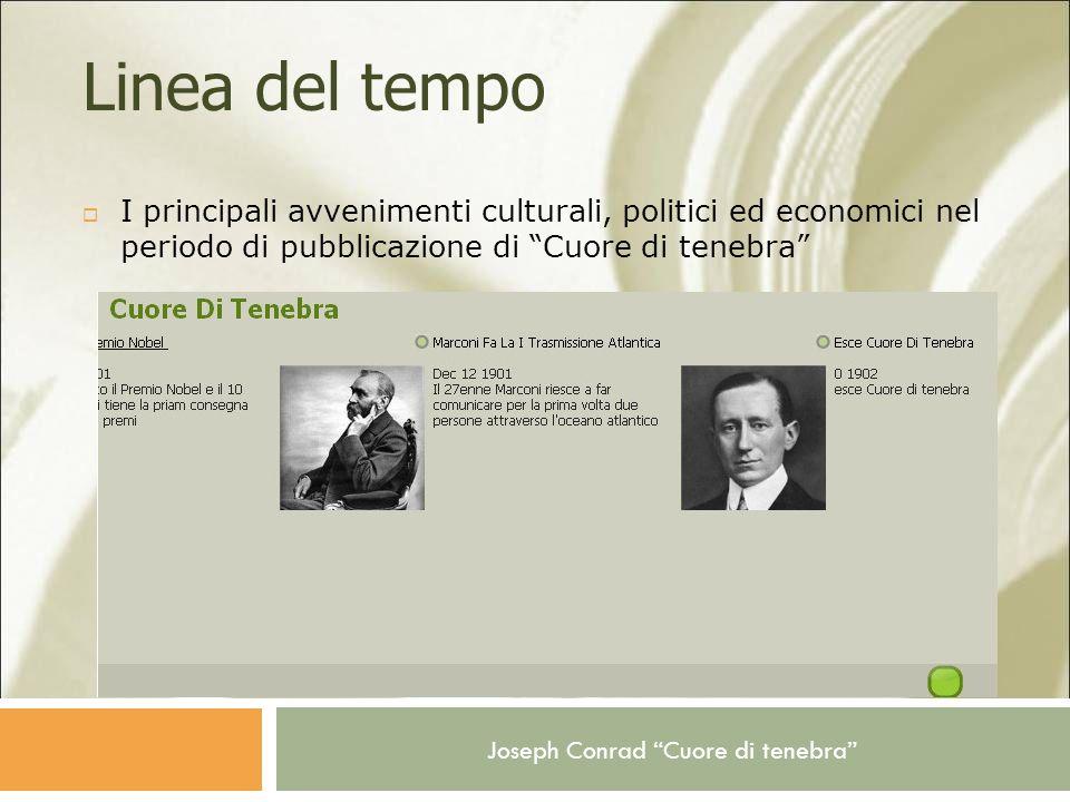 Joseph Conrad Cuore di tenebra Linea del tempo I principali avvenimenti culturali, politici ed economici nel periodo di pubblicazione di Cuore di tene